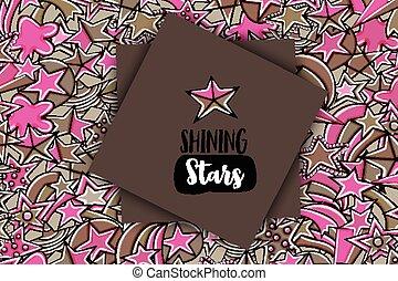 griffonnage, étoiles, fond, dessin animé, toile de fond, mignon, concept, design.