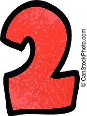 griffonnage, 2, dessin animé, nombre
