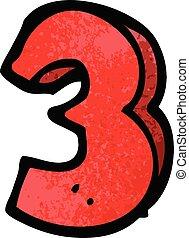 griffonnage, 3, dessin animé, nombre