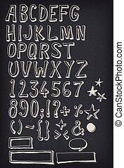 griffonnage, alphabet, ensemble, complet, tableau