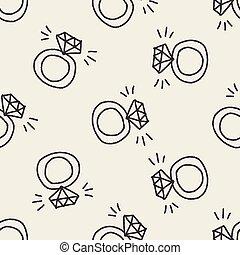 griffonnage, anneau, diamant, dessin