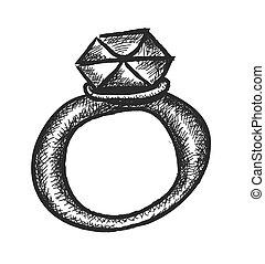 griffonnage, anneau, diamant, mariage