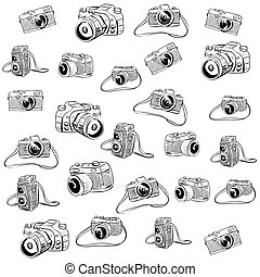 griffonnage, appareil photo, illustration