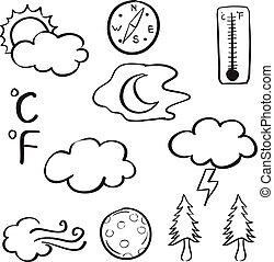 griffonnage, arbre, lune, vent temps, nuage