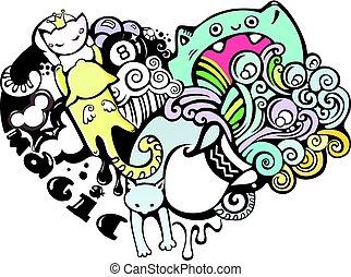 griffonnage, art, chats, amour, heureux