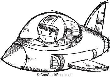 griffonnage, avion, vecteur, jet, croquis
