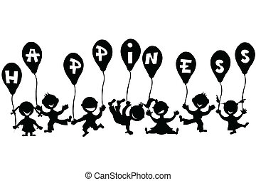 griffonnage, ballons, enfants