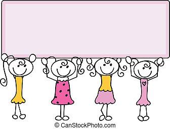 griffonnage, bannière, dessin animé, filles