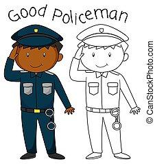griffonnage, bon, caractère, policier