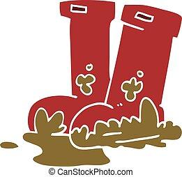 griffonnage, boueux, dessin animé, bottes