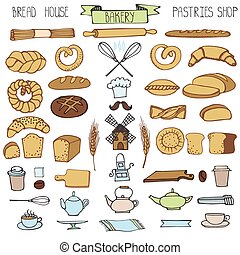 griffonnage, boulangerie, icônes, set.colored, vendange, éléments
