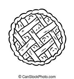 griffonnage, boulangerie, main, blanc, vecteur, dessiné, média, noir, pie., sommet, glyph, vue, icône