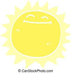 griffonnage, briller, dessin animé, soleil