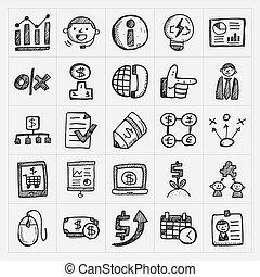 griffonnage, business, icône