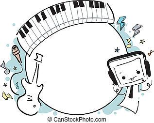griffonnage, cadre, musique