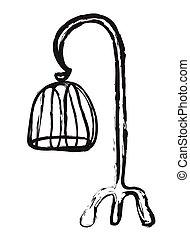 griffonnage, cage d'oiseaux, vecteur
