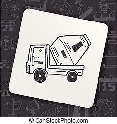 griffonnage, camion, ciment