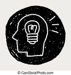 griffonnage, cerveau, idée