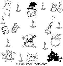 griffonnage, château, halloween, collection, sorcière