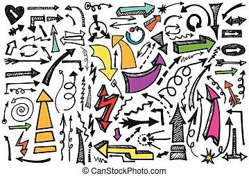 griffonnage, coloré, set., flèches, vecteur, main, dessiner