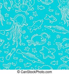 griffonnage, créatures, mer, modèle