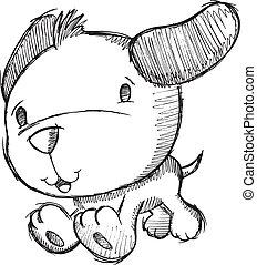 griffonnage, croquis, chiot, chien, dessin