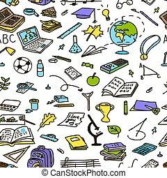 griffonnage, croquis, modèle, école, seamless, couleur, dos, vecteur, dessiné, main