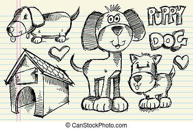 griffonnage, croquis, vecteur, chiot, chien