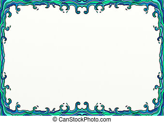 griffonnage, décoration, ondulé, frontière mer, page
