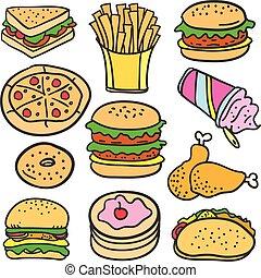 griffonnage, de, nourriture, à, hamburger, gâteau