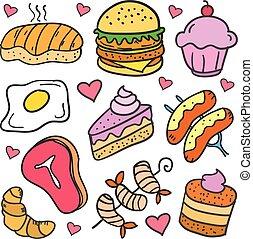 griffonnage, de, nourriture, divers, gâteau, ensemble