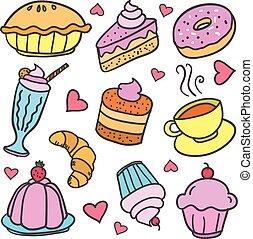 griffonnage, de, nourriture, gâteau, boisson