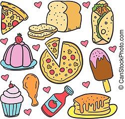 griffonnage, de, nourriture, gâteau, divers, ensemble