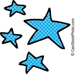 griffonnage, dessin animé, étoiles