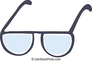 griffonnage, dessin animé, lunettes