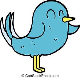 griffonnage, dessin animé, pointage, oiseau