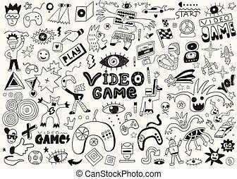 griffonnage, dessins, vidéo, ensemble, vecteur, jeux, crayon