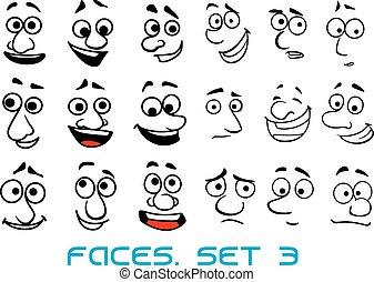 griffonnage, différent, dessin animé, émotions, faces
