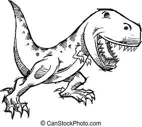 griffonnage, dinosaure, vecteur, croquis, t-rex