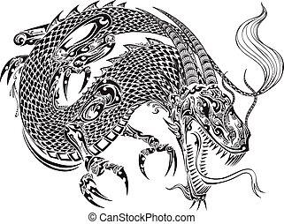 griffonnage, dragon, vecteur, croquis, tatouage