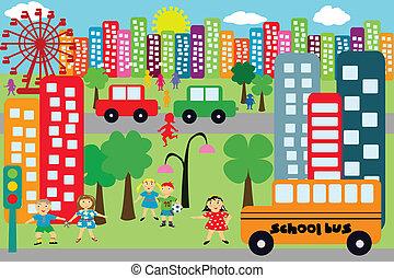 griffonnage, enfants, ville