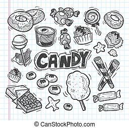 griffonnage, ensemble, bonbon, icônes