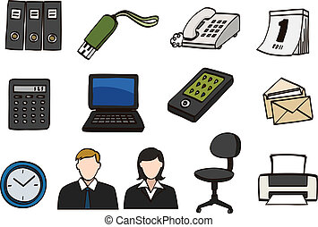 griffonnage, ensemble, bureau, icône