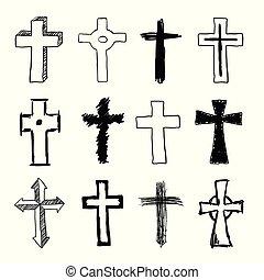 griffonnage, ensemble, chrétien, croix