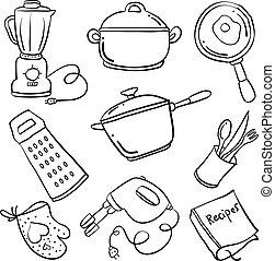 griffonnage, ensemble, collection, cuisine