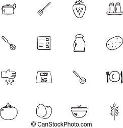 griffonnage, ensemble, cuisine, icônes
