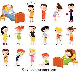 griffonnage, ensemble, enfants, malade