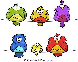 griffonnage, ensemble, oiseaux