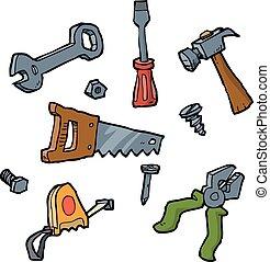 griffonnage, ensemble, outils