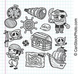 griffonnage, ensemble, pirate, icônes
